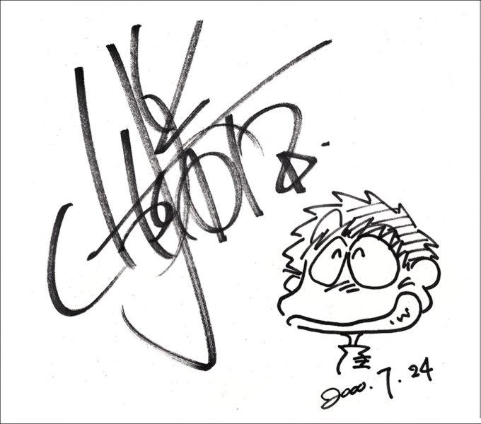 声優 山口勝平 (やまぐちかっぺい) 直筆サイン・イラスト入り色紙 (2000年7月24日)